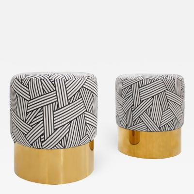 Contemporary Circular Cotton Jacquard and Brass Pair of Italian Poufs