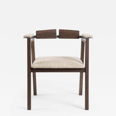 Contemporary Desk Chair in French Walnut Metal and Linen Jean Collection