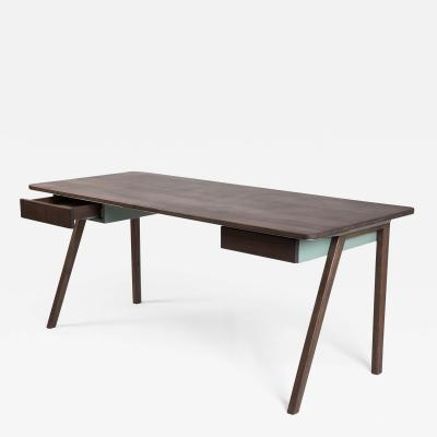 Contemporary Desk in French Walnut and Metal Jean Collection