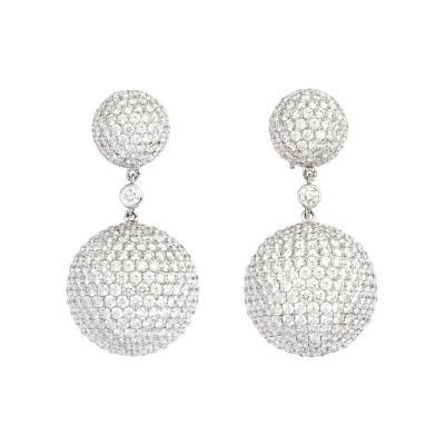 Contemporary Diamond Earrings in 18K White Gold