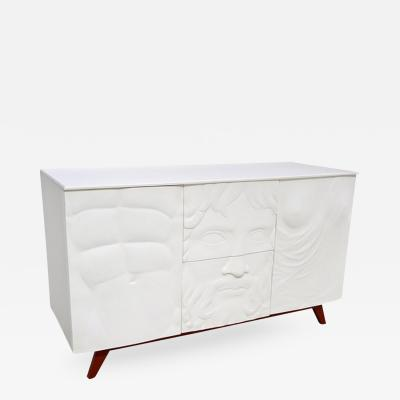 Contemporary Fine Design Italian White Sideboard Cabinet with Burgundy Wood Legs