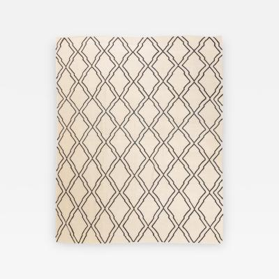 Contemporary Flat Weave Geometric Bereber Design over Black and Beige