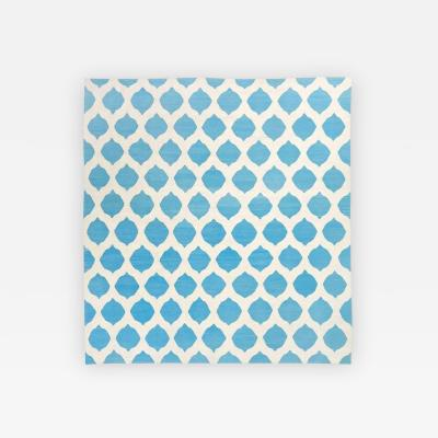 Contemporary Flat Weave Handmade Modern Design over Blue and Beige Colors