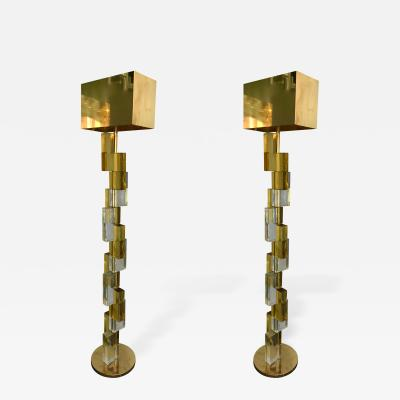 Contemporary Floor Lamps Cubic Murano Glass Italy