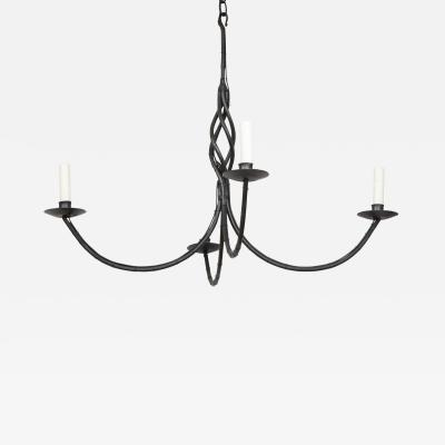 Contemporary Four Arm Black Iron Chandelier Lucca and Co