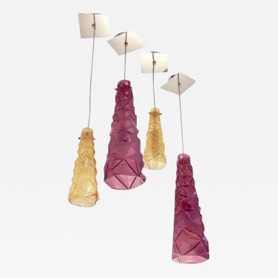 Contemporary Four Italian Diamond Cut Purple and Yellow Murano Glass Pendants