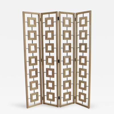 Contemporary Four Panel Folding Screen