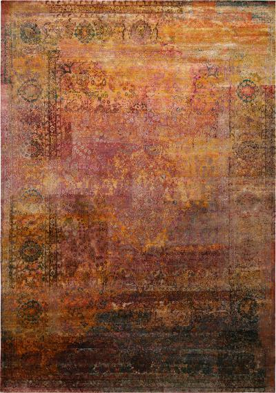 Contemporary Geometric Pomegranate and Gold Silk Rug