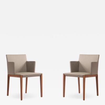 Contemporary Gray Leather Arm Chairs