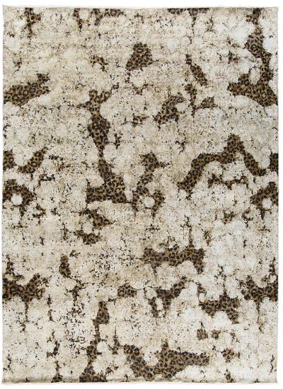 Contemporary Hand Knotted Leopard Wool and Silk Rug in Brown Cream and Black