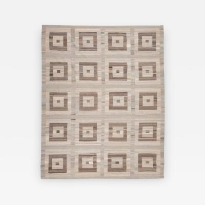 Contemporary Handmade Flat Weave Design over Brown and Gray Colors