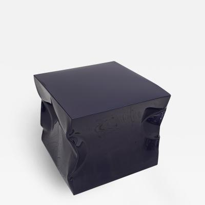Contemporary Indigo Blue Lacquered Metal Side Table