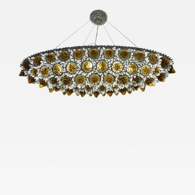 Contemporary Italian Amber Gold and Clear Glass Oval Silver Flush Chandelier