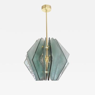 Contemporary Italian Aqua Blue Green Textured Murano Glass Pendant Chandelier