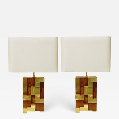 Contemporary Italian Architectural Pair of Stepped Wood and Brass Urban Lamps