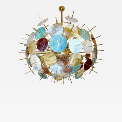Contemporary Italian Brass Pastel Colored Murano Glass Oval Sputnik Chandelier