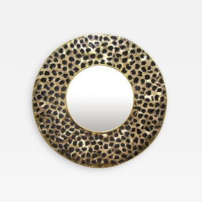 Contemporary Italian Brutalist Leopard Brass and Black Glass Modern Round Mirror