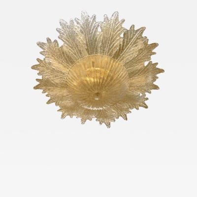 Contemporary Italian Custom Amber Textured Murano Glass Brass Flower Flush Mount