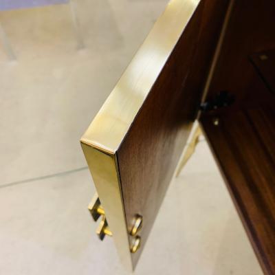 Contemporary Italian Custom Art Deco Style Royal Blue Glass Modern Cabinet Bar