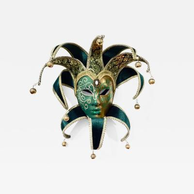 Contemporary Italian Green Gold Venice Modern Mask With Jester Collar And Bells