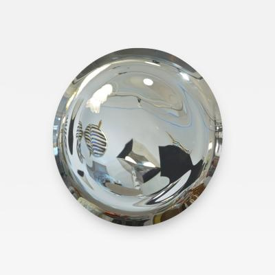 Contemporary Italian Minimalist Curved Silver Glass Round Mirror