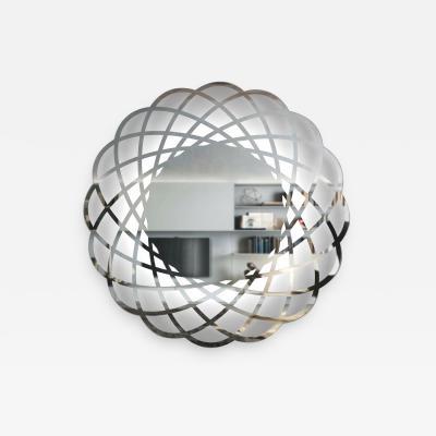 Contemporary Italian Minimalist Lace Decor Scalloped Round Mirror with Light