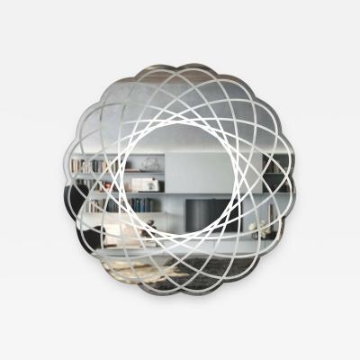 Contemporary Italian Organic Modern Lace Decor Scalloped Round Mirror with Light