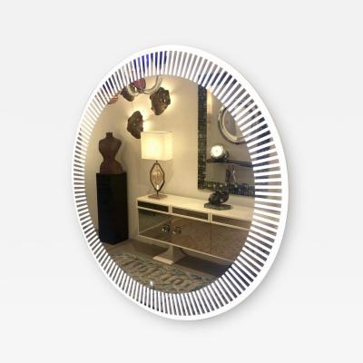 Contemporary Italian Organic Modern Round Lit Mirror with White Sunburst Decor