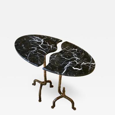 Contemporary Italian Oval Cast Bronze and Marble Side Table Doubling as a Pair