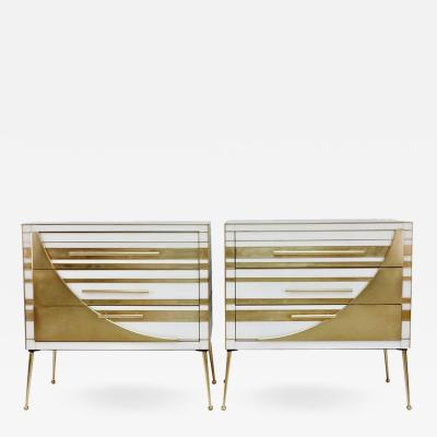 Contemporary Italian Pair of Gold Brass and White Glass Chests Side Tables