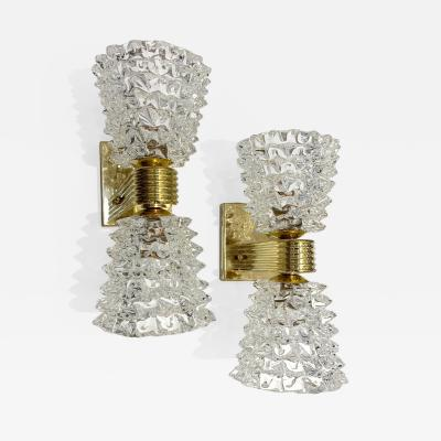 Contemporary Italian Rostrato Crystal Murano Glass Brass Double Lit Sconces