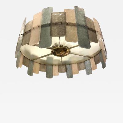 Contemporary Italian Scavo Gray Ivory Murano Glass Organic Flushmount Chandelier