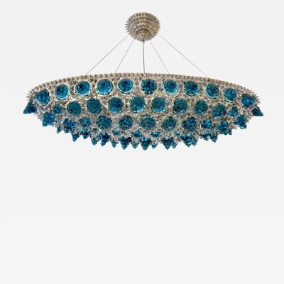 Contemporary Italian Turquoise Blue Clear Glass Oval Silver Flush Chandelier