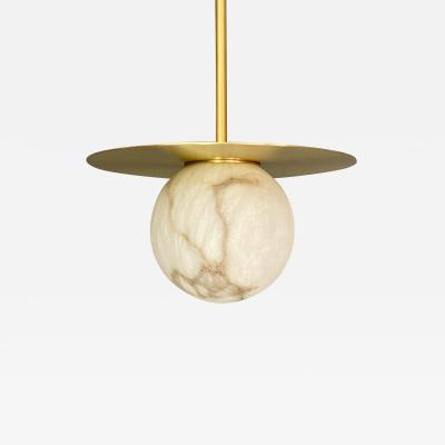 Contemporary Italian White Alabaster Moon Satin Brass Round Pendant by Matlight