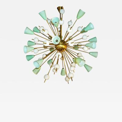 Contemporary Italian White Mint Green Murano Glass Sputnik Brass Chandelier