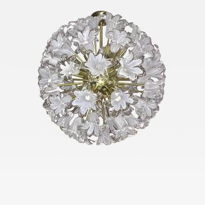 Contemporary Italian White Murano Glass and Brass Sputnik Bud Flower Chandelier