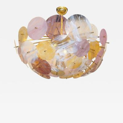 Contemporary Italian Yellow White Rose Pink Murano Glass Oval Sputnik Flushmount