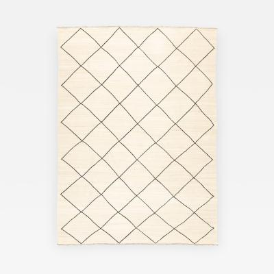 Contemporary Kilim Rhombus Berber Design with Beige and Black Colors