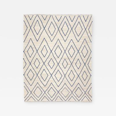 Contemporary Kilim Rombus Design in Beige and Blue 2 80 x 3 60 m