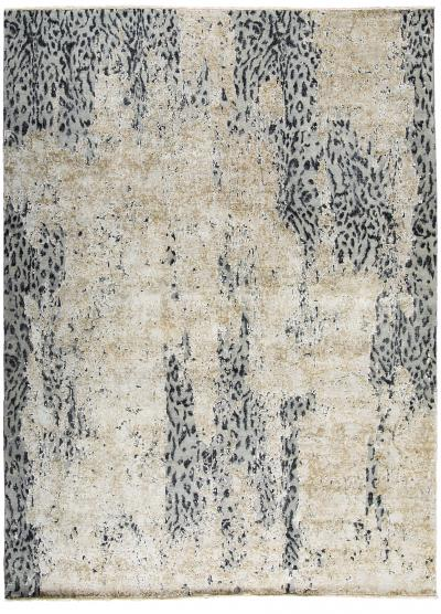 Contemporary Leopard Wool and Silk Wool Rug in Gray Cream and Black