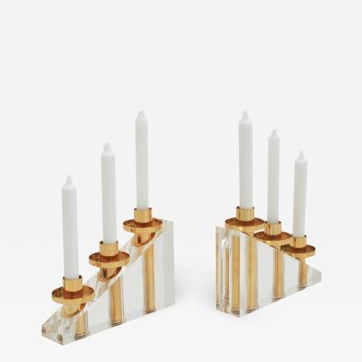 Contemporary Modern French Brass and Methacrylate Pair of Candelabras