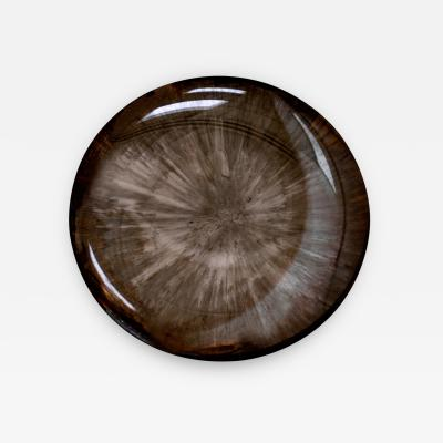 Contemporary Modern Unique Sculptural Concave Brown Glass French Mirror