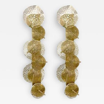 Contemporary Organic Italian Design Pair of Perforated Brass Leaf Sconces