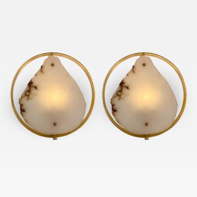 Contemporary Pair of Alabaster Circle Brass Sconces Italy
