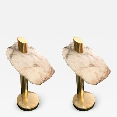 Contemporary Pair of Brass Alabaster Totem Lamps Italy
