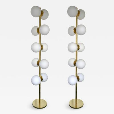 Contemporary Pair of Brass Floor Lamps Opaline Ball Italy