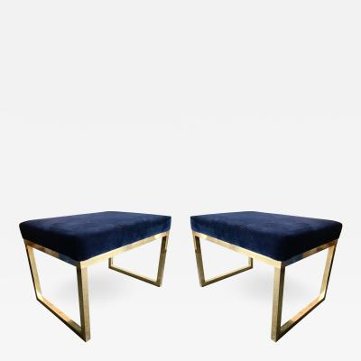 Contemporary Pair of Brass Poufs Stools Italy