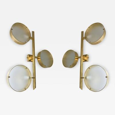 Contemporary Pair of Brass Sconces Three Circle Italy