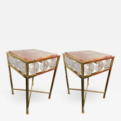 Contemporary Pair of Brass Side Table Rock Cristal Onix Italy