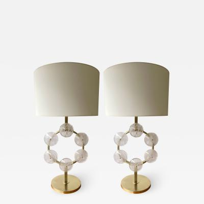 Contemporary Pair of Brass and Rock Crystal Circle Lamps Italy